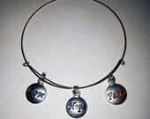 Adjustable Charm Bracelet Love Faith Hope Alex and Ani Inspired Bangle