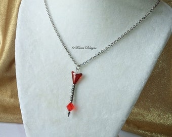 Legend of Zelda Fire Arrow Pendant Necklace Custom made with Swarovski Crystals by TorresDesigns OOAK One of a kind Ready To Ship