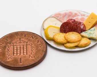 deli meat and assorted cheese plate dollhouse miniature food