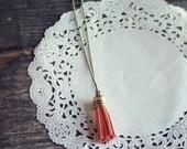 Pink Lemonade Light Orange Coral Antique Brass Tassel Charm Necklace