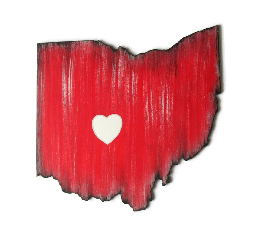 Red Wooden Wall Decor : Any state cut out wooden wall decor in red by fischerfinearts