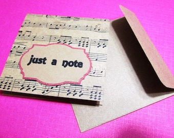 Mini Notes - 3x3 Set of 8 Kraft and Black Mini Notecards - JUST A NOTE