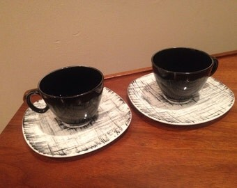 Knowles Ebonette Black and white coffee cups and saucers