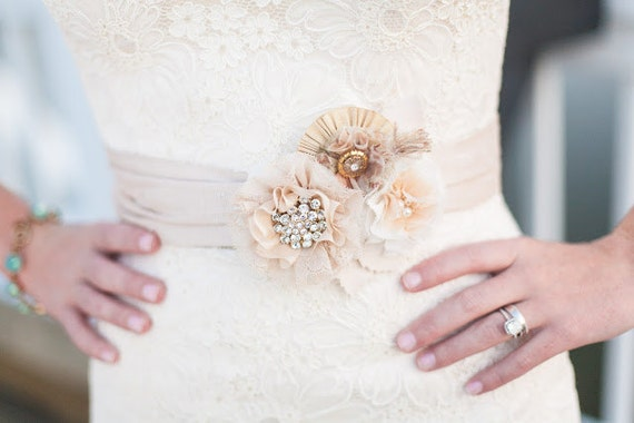 Wedding Belts and Sashes, Custom Made Fabric Flower Bridal Accessories, Made to Order in Your Colors and Style, Floral Bridal Sash
