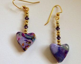 Heart Dangly Earrings Purple Heart Earrings Heart Dangle Earrings Polymer Clay Earrings Purple Dangly Earrings Valentine's Day Earrings