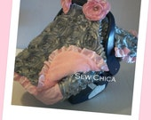 Infant / Baby Car Seat Canopy/ Tent / Cover/Gray Roses/Light Pink MInky/2 Bling Flowers -READY TO SHIP