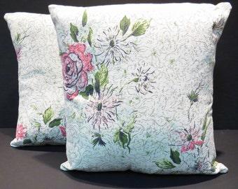Pink Rose Mid Century Barkcloth Pillows Vintage 1950s Fabric Pair Home Decor Pillows