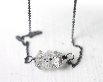 Herkimer Diamond Necklace in Oxidized Sterling Silver, April Birthstone Modern Minimal Jewelry