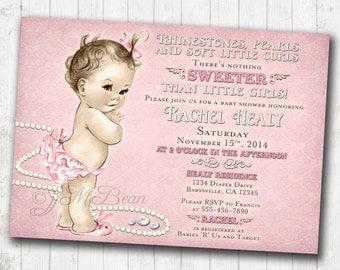 Vintage Baby Shower Invitation For Girl - Rhinestones, Pearls - Pink - DIY Printable