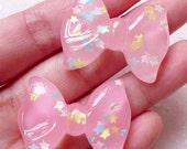 Fairy Kei Bow Resin Cabochons w/ Star Confetti Glitter (2pcs / 34mm x 26mm / Pink / Flat Back) Kawaii Decora Decoration Scrabooking CAB376