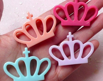 Kawaii Fairy Kei Crown Cabochon (4pcs / Pastel Color / 44mm x 32mm / Flat Back) Cute Decoden Decora Cell Phone Deco Embellishment CAB371