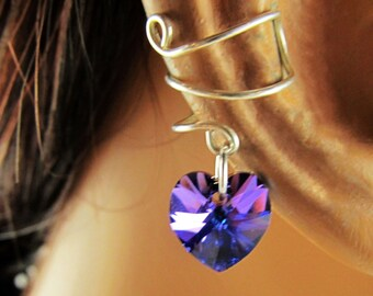Sterling Silver Handmade Ear Cuff Choice of Swarovski Hearts Gift Under 10
