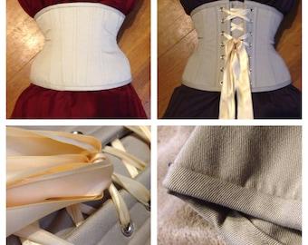 """35% off! 23"""" waist, Beige twill waist cincher, brand new, training corset, underbust, by Jupiter Moon 3"""