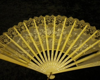 x Vintage Wood & Fabric Hand Fan with laces and painted applique highlights on white wood slats with silver design (#FF021315-2)