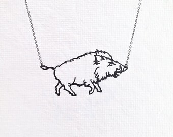 Boar Necklace, Wild Boar Warthog Hog Pig