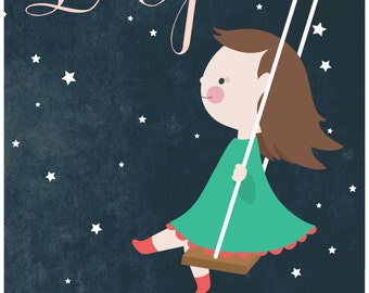 12 X 18 Personalized children's illustration, little girl or boy swinging through at the stars, the beatles, lucy in the sky with diamonds