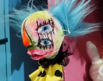 Christmas Tree Ornament Art Doll Head, creepy clown decoration, circus freak, Burton like Xmas