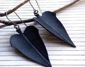 Leaf Dangle Earrings - Eco-friendly Inner Tube Earrings - 50% off Sale