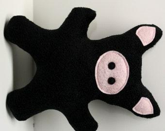 Piglet squeaky fleece black pig dog toy