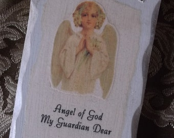 Guardian Angel prayer, shabby wood plaque, antiqued white