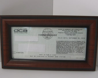 walnut vintage sculpted edge business cosmetology license frame new style