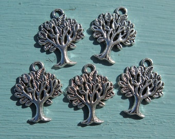 5PCS - Silver Toned - Tree of Life Charms - 21x18mm
