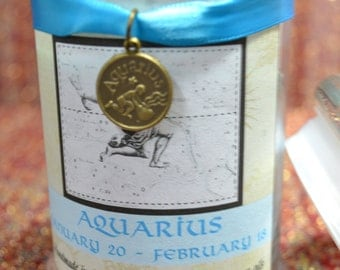 8 oz. Aquarius Soy Zodiac Container Candle (Driftwood & Patchouli fragrance)
