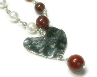 CIJ  Valentine Heart Necklace - Red Carnelian and Pearl Asymmetrical Heart Necklace - Heart Jewelry - Gemstone - Valentines Day