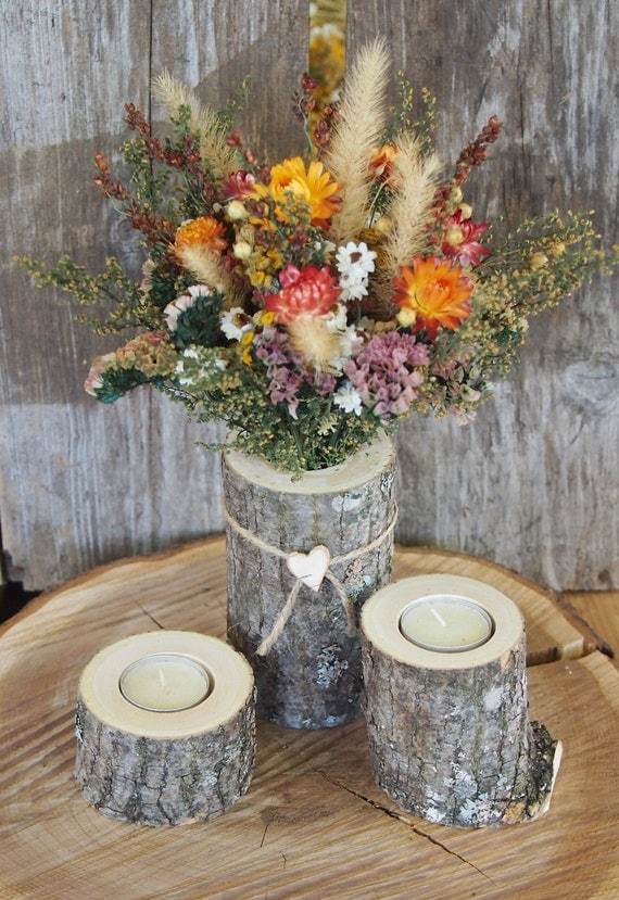 Country centerpiece white ash wood candle holders dried