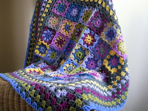 Heather Crochet Blanket Kaleidoscope of Granny Squares Purples Blues Afghan In Stock Ready to Ship