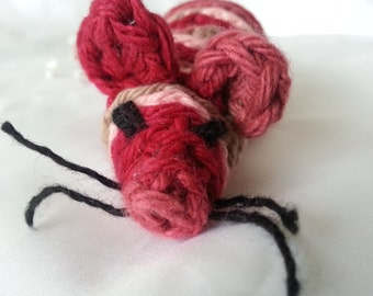 Nori's Mouse in red, pink and brown Crochet Cotton Cat Toy with Organic Catnip
