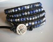 Boho Fashion Blue Beaded Bracelet Leather Wrap Bracelet 5-Wrap Bracelet