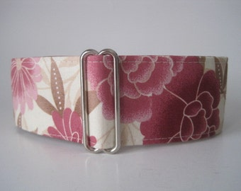 1.5 Inch Martingale Collar, Asian Martingale Collar, Whippet Collar, Asian Dog Collar, Wide Dog Collar, Pink Floral, Greyhound Collar