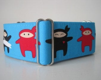Ninja Martingale Collar, Ninja Dog Collar, 2 Inch Martingale Collar, Blue, Black, Greyhound Martingale, Sighthound Collar