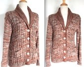 Vintage 1970's Cardigan // 70s Brown Cowl Neck Mixed Knit Cardigan Sweater