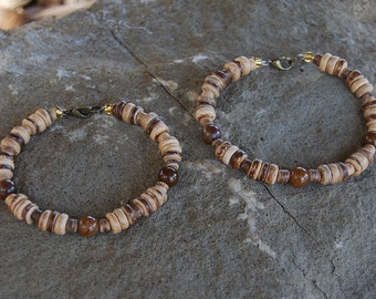 His N Hers - Handcrafted Gemstone Matching Couples Bracelets - Coconut Shell and Pietersite - SGArtCA - Tribal Chic Jewelry