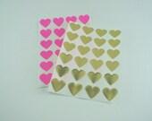 "Metallic Mini Gold Foil Heart Stickers / Labels  (0.75"" - 96 pack)"
