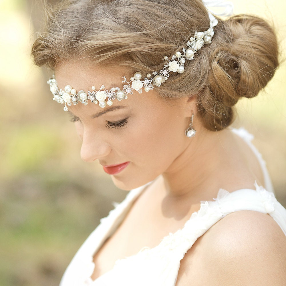 Flower Wedding Headpieces: Wedding Floral Halo Bohemian Wedding Headpiece Bridal Flower