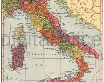 Vintage MAP of ITALY -  Instant Download Digital Printable- Old Italian Map 8.5 x 11 , 12 x 16 -