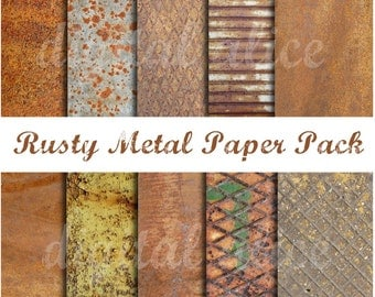 RUSTY METALS Paper Pack- Digital Download Paper Pack -9 Rusted Textures, Coroded metal,Instant Printable Download -paper crafts