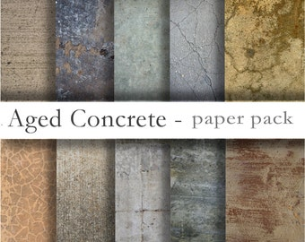 AGED CONCRETE Old Cement Textures - Digital Paper Pack - 10 finishes -Instant Download Digital Printable Papers  - DiY