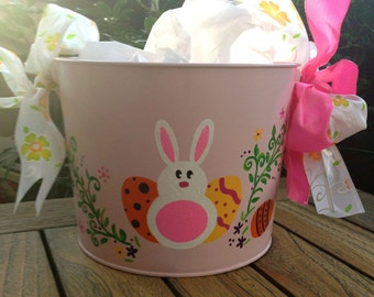 Easter Rabbit - Personalized Basket, Bucket, Pail - Personalized Pink Metal Bucket - Hand Painted Easter Bunny with Easter Eggs