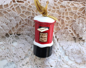 Snowy British Postbox Handturned and Handpainted Christmas Decoration