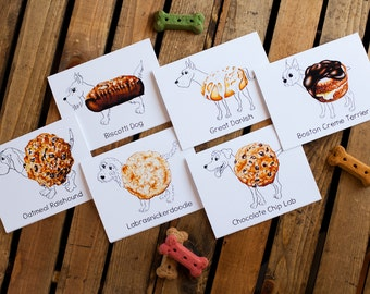 Dog Treats Notecards (set of six) - dog breeds as pictured (dog notecards, dog stationery, blank interior for thank you, thinking of you)