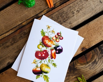 Tomato Vine Notecard (greeting card, blank interior for thank you, get well, thinking of you, friendship, anytime, encouragement)
