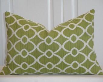 Decorative Pillow Cover  -  12 x 18 Accent Pillow - Throw Pillow - Geometric - Lattice - Lime Green