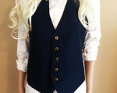 Slim Fit Navy Blue Vest with Gold Buttons
