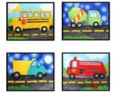Transportation Wall Art for Boys Room, SET of 4, dump truck, fire engine, school bus, cement mixer, art for nursery, kids decor