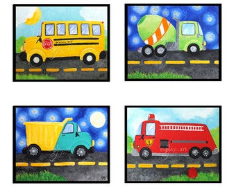 Transportation Wall Art for Boys Room, SET of 4, dump truck, fire engine, school bus, cement mixer, art for nursery, kids decor