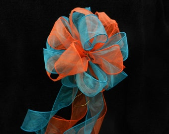 Wedding/ Pew Bows set of 10 Orange and Teal